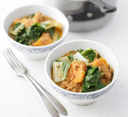 Chard, sweet potato & peanut stew