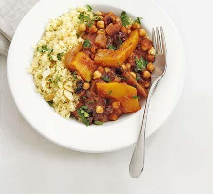 Pumpkin, cranberry & red onion tagine