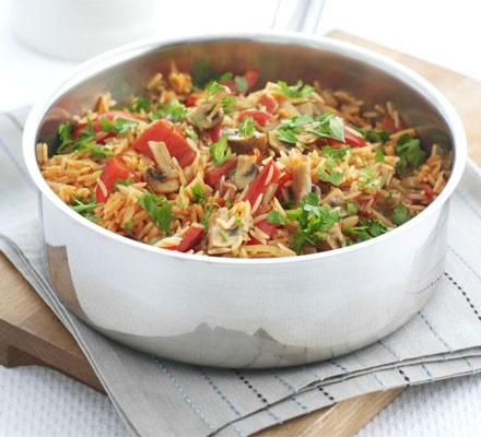Mushroom & rice one-pot