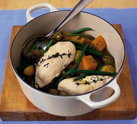 All-in-one chicken, squash & new potato casserole