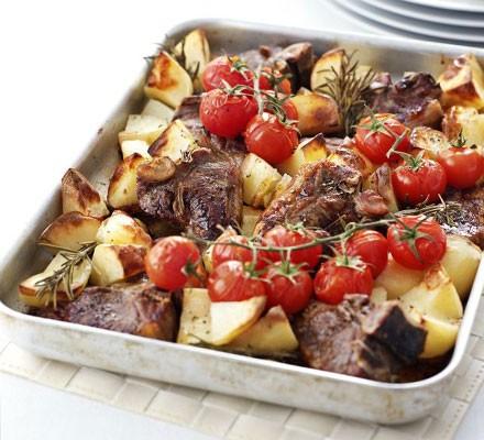 Rosemary roast lamb chops & potatoes