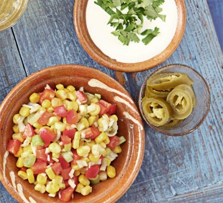 Crunchy corn & pepper salsa