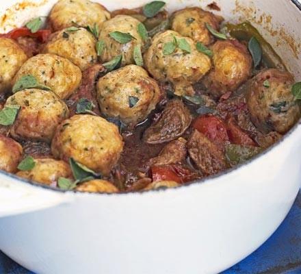 Pork goulash with herby dumplings