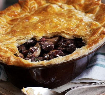 Steak & roasted shallot pie with a mustard crust