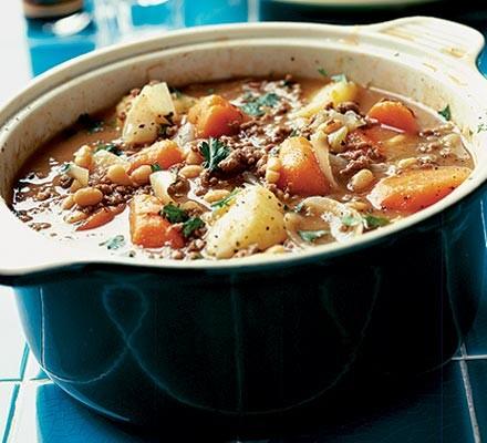 A casserole dish of beef hotpot