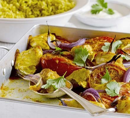 Baked chicken masala with almond pilaf