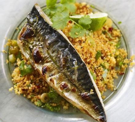 Grilled mackerel with harissa & coriander couscous