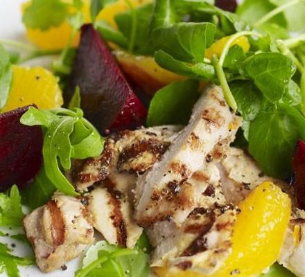 Mustard griddled chicken, beetroot & orange salad