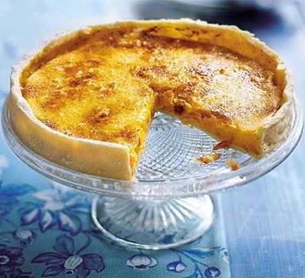 Caramelised passion fruit & lime tart