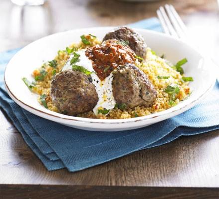 Moroccan lamb meatballs with harissa & couscous