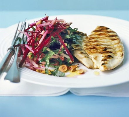 Crunchy beetroot slaw with grilled chicken