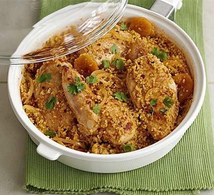 Harissa-spiced chicken with bulgur wheat