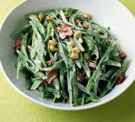 Runner beans with bacon & hazelnuts