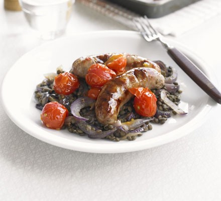 Saucy roast sausages with lentils