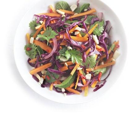 Tangy carrot, red cabbage & onion salad