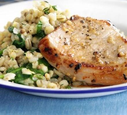 Grilled pork with lemon & thyme barley