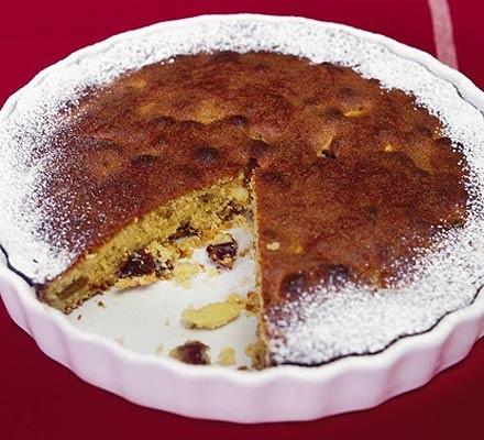 Baked almond & date tart
