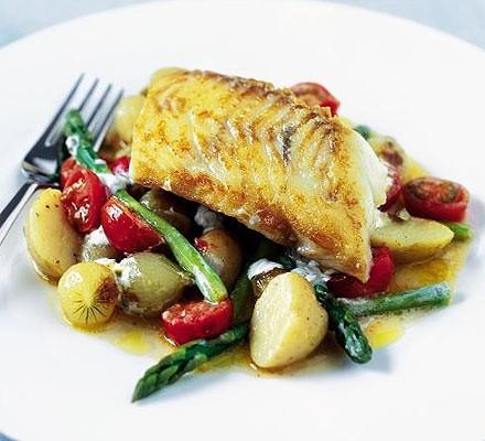 Sautéed haddock with summer veg