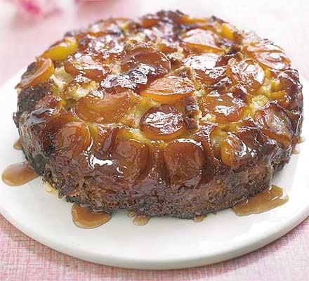 Upside-down sticky apricot cake