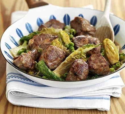 Lamb & lettuce pan-fry