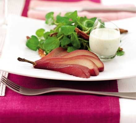 Mulled pears with Roquefort dressing