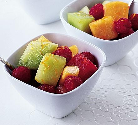 Melon, orange & raspberry cups