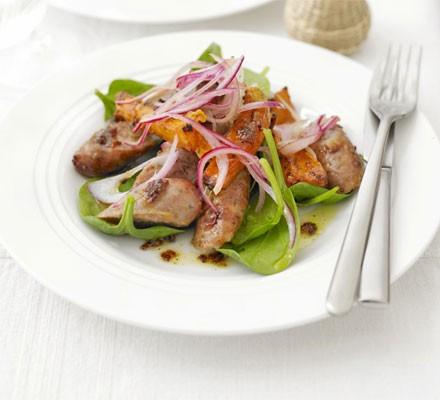 Sticky sausage & sweet potato salad