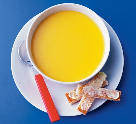 Carrot & cheddar soup with toast soldiers