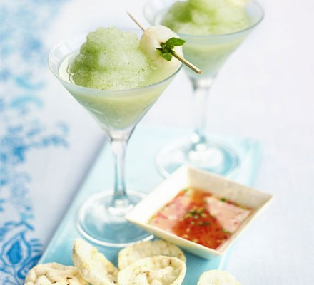 Frozen lychee & mint cocktails