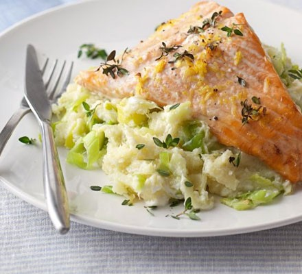 Salmon with leeks & parsnip mash