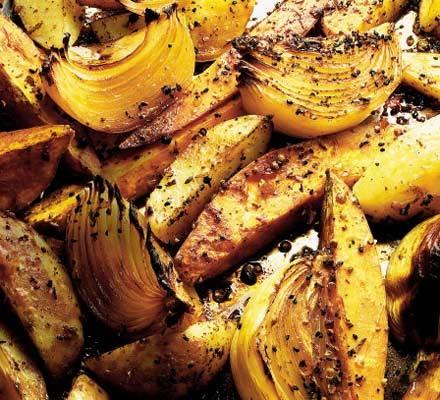 Asian-style baked onions, potatoes & sweet potatoes