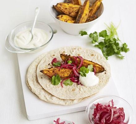 Spiced Indian potato wraps