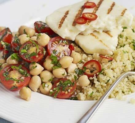 Halloumi with chickpea salsa & couscous