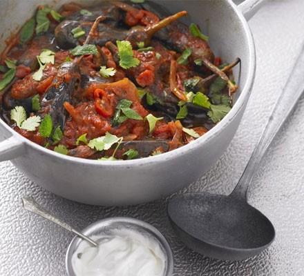 Spicy baby aubergine stew with coriander & mint