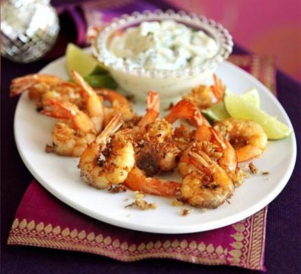 Spiced prawns with coriander mayo