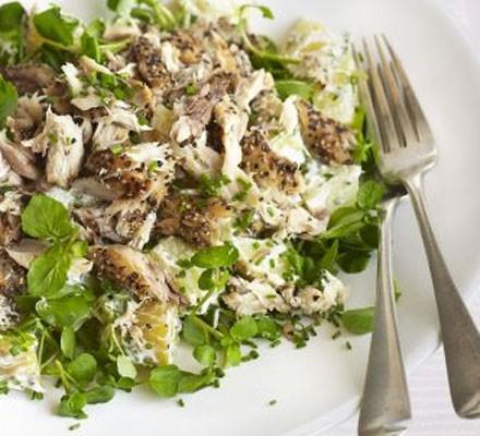Peppered mackerel, new potato & watercress salad