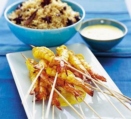 King prawns in saffron almond sauce