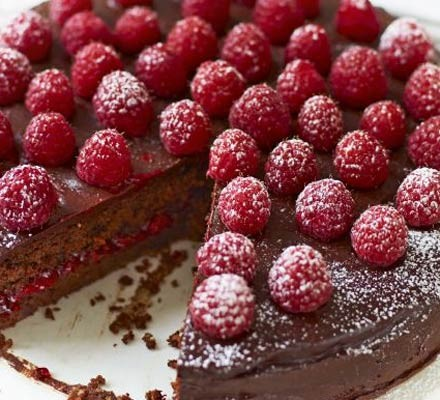 Raspberry chocolate torte