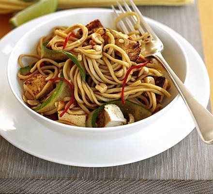 Asian-style tofu & cucumber noodles