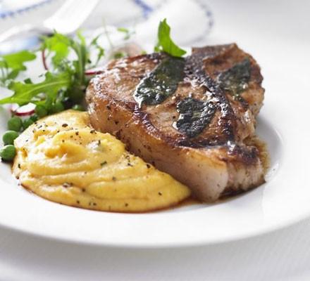 Veal chops with sage & creamy squash polenta