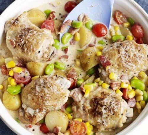 Chicken stew in pot