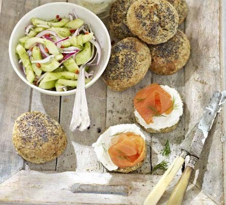 Dill scones with smoked salmon & cucumber relish