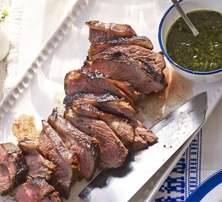 Barbecued lamb with sweet mint dressing