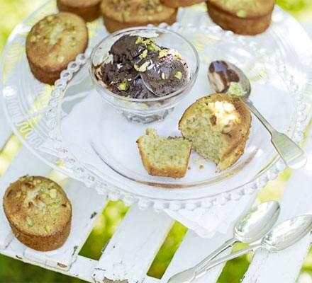 Pistachio friands with chocolate ice cream