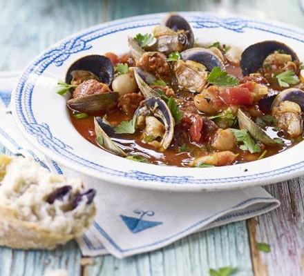 Clam, chorizo and white bean stew