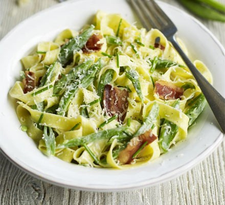 Fettuccine with beans & pancetta