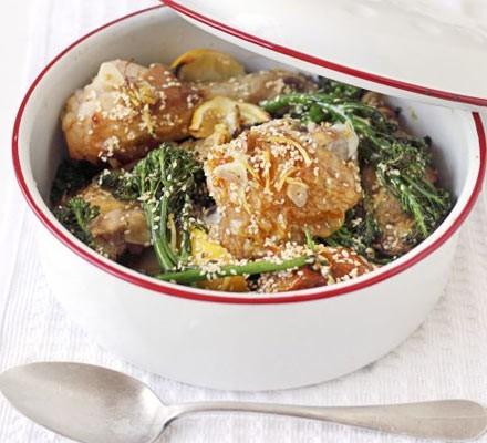 Lemon, broccoli & sesame roast chicken