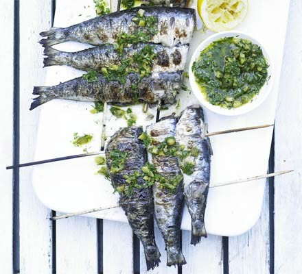 Skewered sardines with tartare dressing