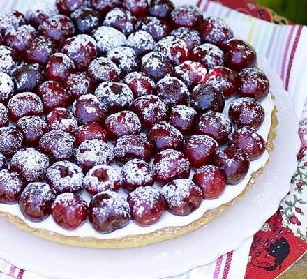 Cherry, almond & lemon mascarpone tart