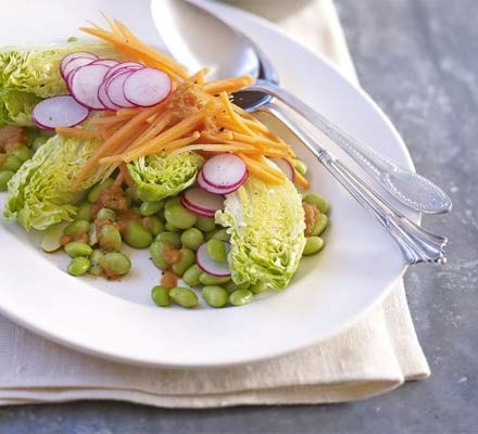 Japanese salad with ginger soy dressing